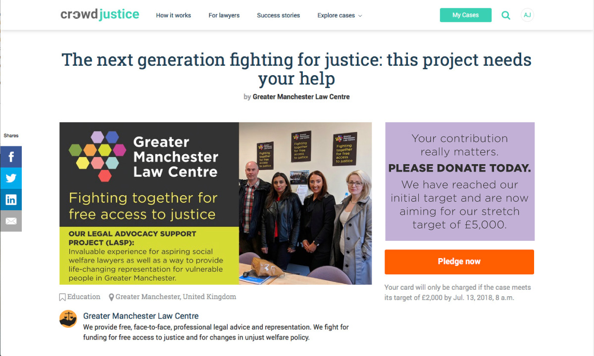 CrowdJustice fundraiser home page