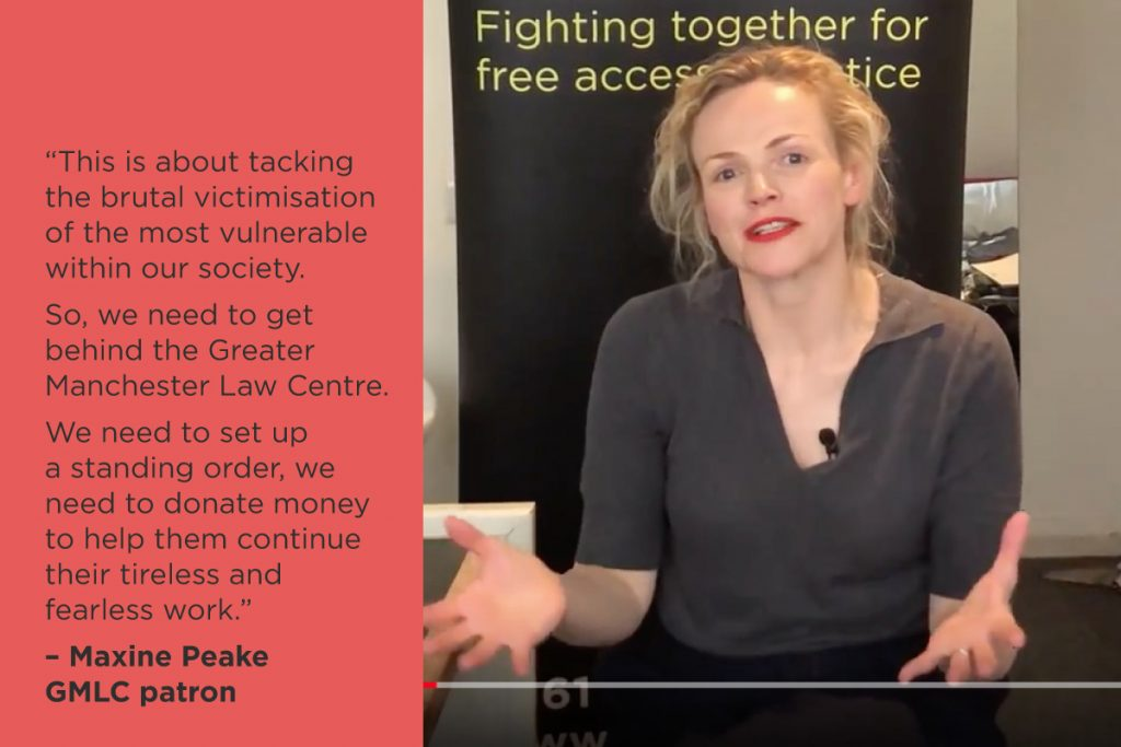 News feature image of Maxine Peake GMLC fundraising campaign