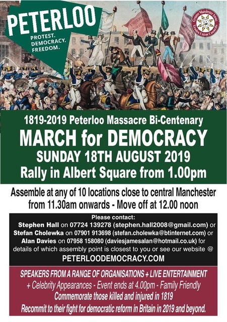 Poster for the peterloo march for democracy