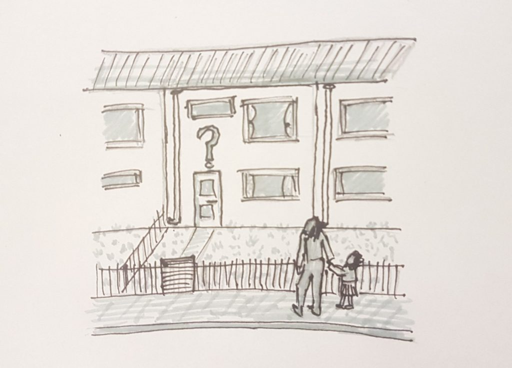 Line drawing of a house, question mark above the door, two people outside staring up at the question mark.