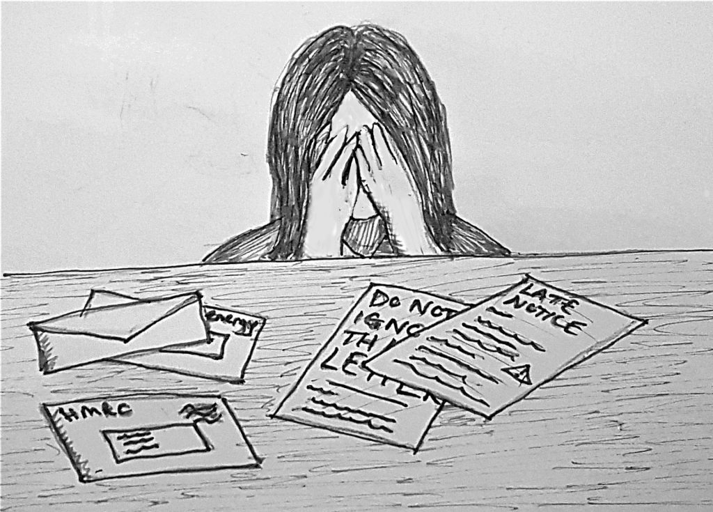 Image is a line drawing of a woman with her head in her hands in front of a table strewn with envelopes from creditors.