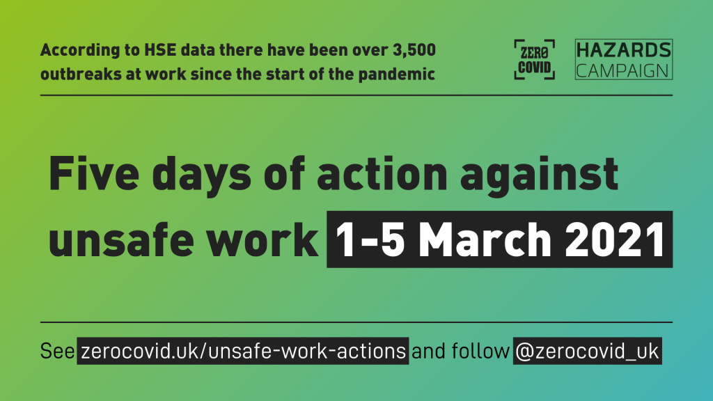 Image from Zero Covid website advertising the 5 days of action against unsafe work 1-5 March