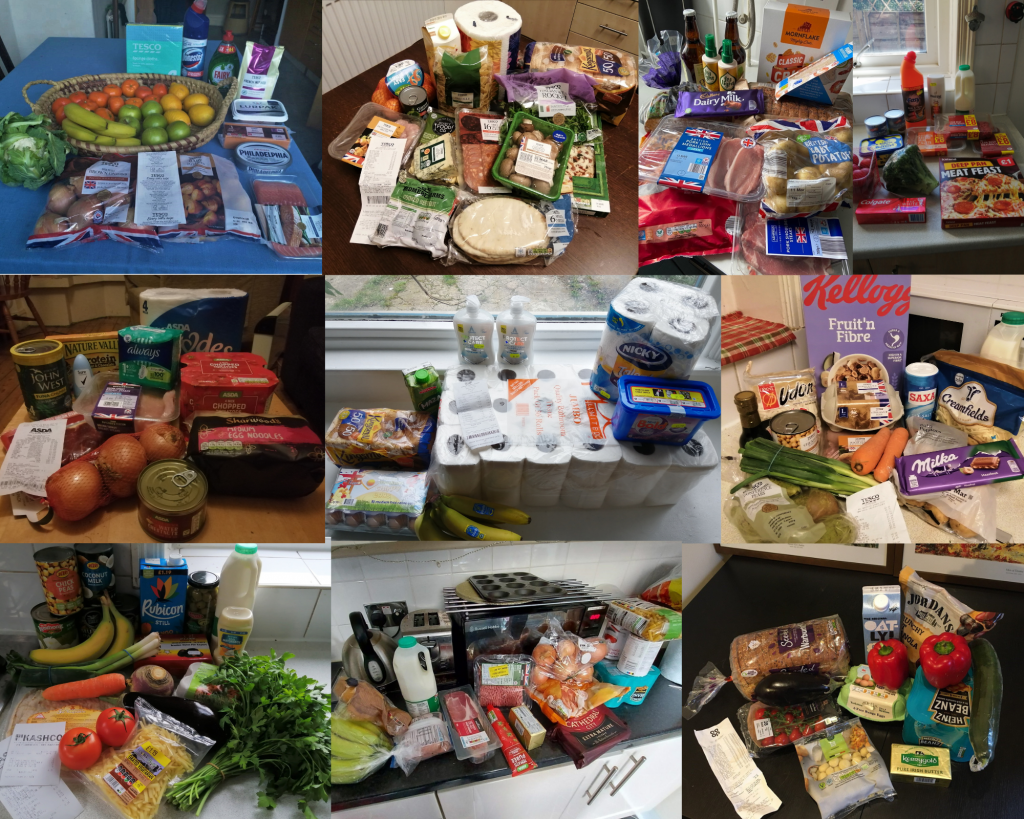 Collage of 10 pictures of what £20 buys for our volunteers and staff at GMLC from a range of Greater Manchester supermarkets. What just 10 claimants could lose from their weekly shop if the £20 weekly uplift is dropped.