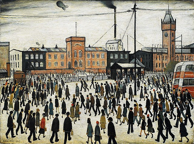 Image is an LS Lowry painting from 1943, 'Going to Work', which shows dozens of workers going to work at a mill, heads down. The painting is in colour but the palette is very muted, in greys, pinks and whites.