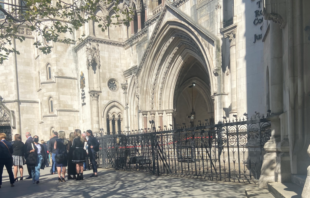 Photo of the High Court in London outside the hearing on 6 May.