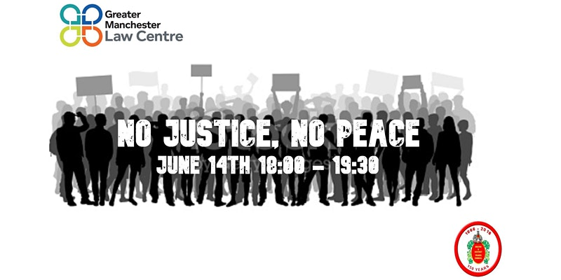 Image shows silhouettes holding placards, as if at a protest, and the event title 'No Justice No Peace' in white across the top. Logos of GMLC and Bolton TUC at two corners.