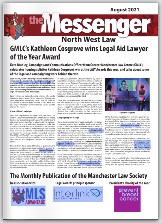 Cover of the Manchester Law Society Messenger August 2021 (too small to read, click for edition).