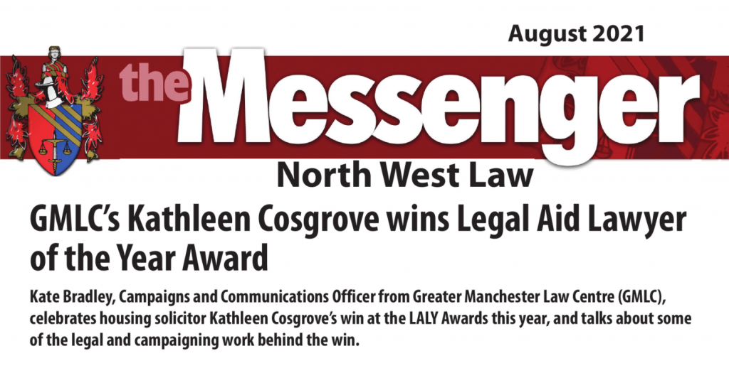 The header of the Messenger's cover story. Reads: 'GMLC's Kathleen Cosgrove wins Legal Aid Lawyer of the Year Award