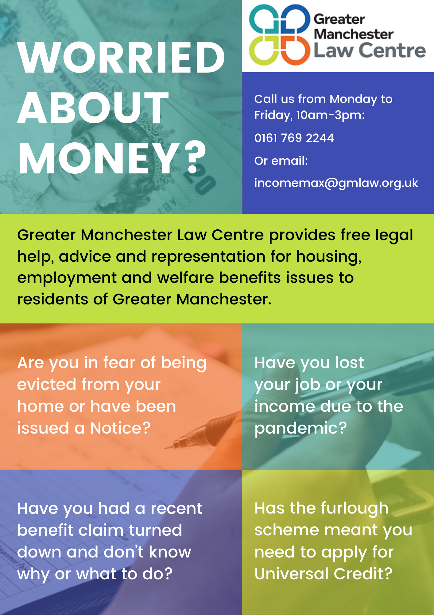 """Image shows our leaflet asking """"Worried about money?"""""""