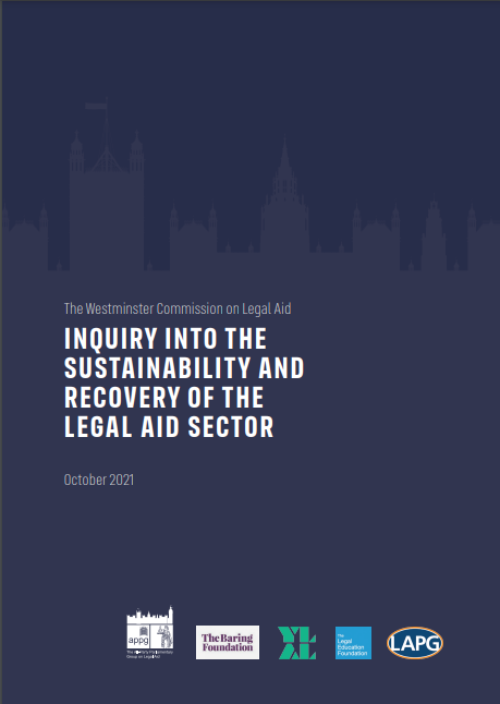 Cover of the LAPG Inquiry into the sustainability and recovery of the Legal Aid Sector October 2021